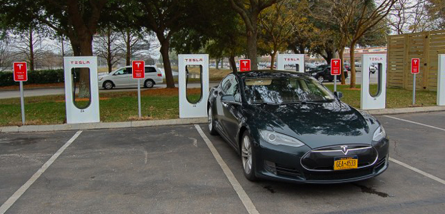 About 95% of EV charging is done at home overnight. For trips an EV such as this Tesla Model S can charge while the driver has lunch.