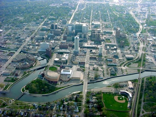 Arial view of downtown Rochester, MN