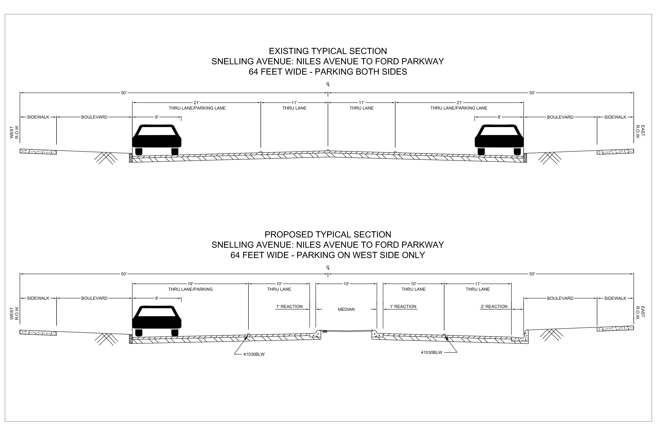 . St Paul and Highland District Council's plan to convert this section of Snelling from 4 lanes to 5 lanes. Of course they show cross sections of the planted median but not of the left turn lanes.
