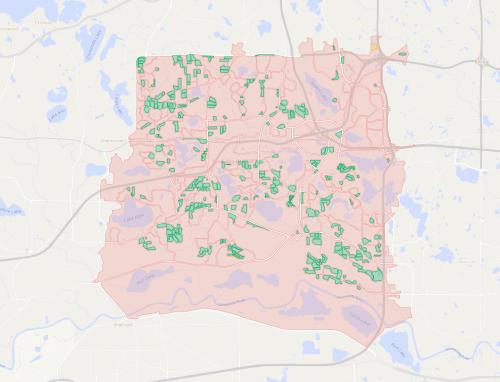 A map of city blocks in Eden Prairie