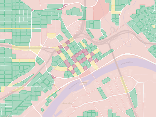 Map of city blocks in downtown Saint Paul.