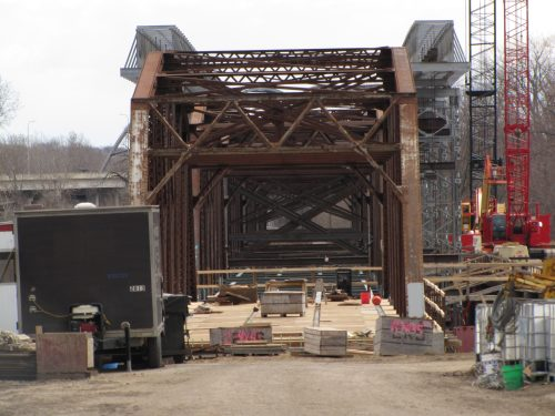 The northernmost span has been set back down and is ready for the deck to be built.