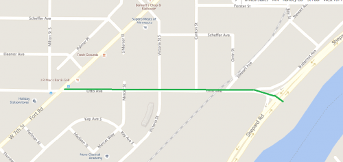 Map of Otto Avenue from West 7th St to Shepard Road