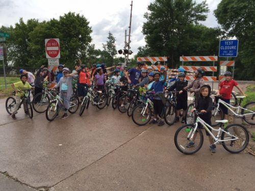 Seward Montessori students at the 29th Avenue closure