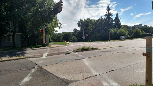 Sad median at the Randolph Avenue crossing