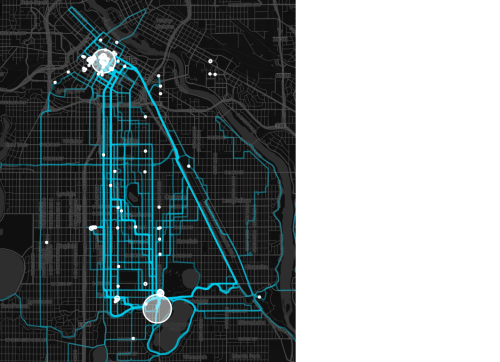 A map of my week-day biking over roughly the last six months