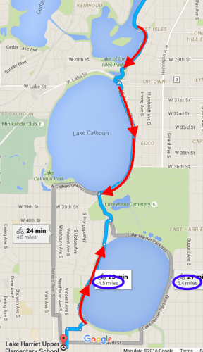 Here is the route Google Maps recommended -- both directions. Note the difference in distance by side of lake.