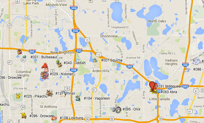 The Surprising Urban Geography of Pokemon Go | streets mn
