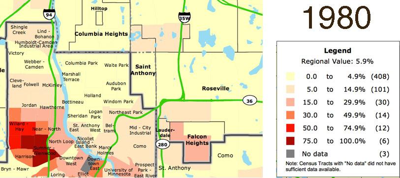 University Of Minnesota Map East Bank.Map Monday Northern Twin Cities Suburbs Race Maps 1980 2010