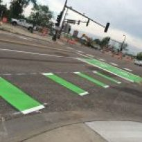 The green painted road