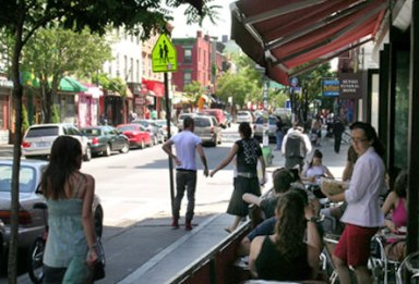 Outdoor cafe in Williamsburgh, Brooklyn, New York City, NY