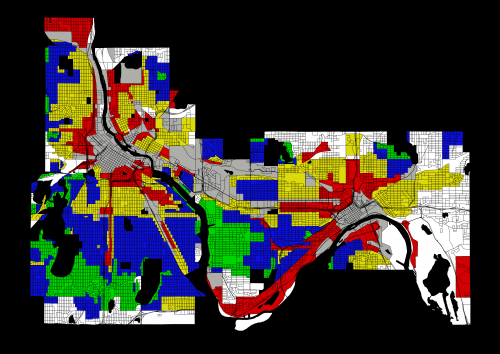 Minneapolis-Saint Paul redlining map