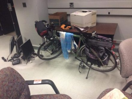 This bicycle is carried down stairs to get to this cozy spot. (Photo Credit - Hokan)