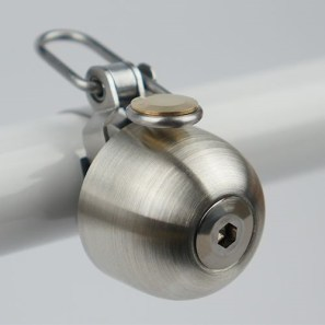 Above, the Spurcycle Bell, from Spurcycle. This bell constructed from stainless steel and is handmade in the USA. It comes in two sizes and is compatible with handlebars of any diameter ranging from 22.2mm-31.8mm. Credit: spurcycle.com.