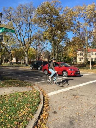 Attempting to make a left-turn from Summit Avenue onto North Fry Street