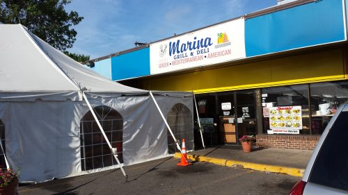 A Tent for Extra Seating at Marina Grill & Deli