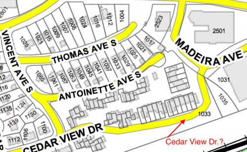 The City's Version: Cedar View Dr Connecting to Madeira Ave