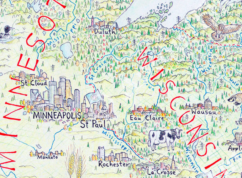 Hand Drawn Us Map.Map Monday Hand Drawn Map Of North America Minnesota Regional
