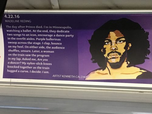 Bus placard with an illustration of Prince and a poem
