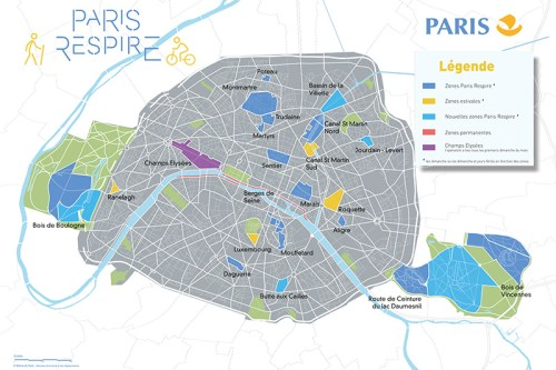 Map of Paris showing zones that are closed to car traffic at certain times