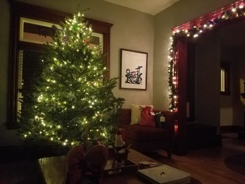 Christmas tree and garland in a living room