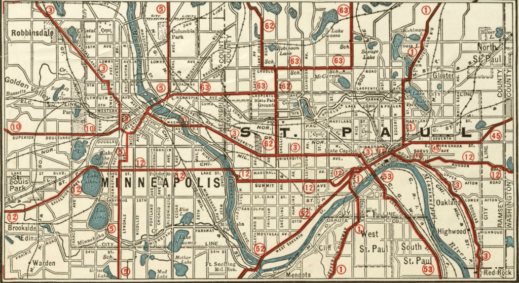 The Trunk Highway System layout in Minneapolis and St. Paul, 1920s
