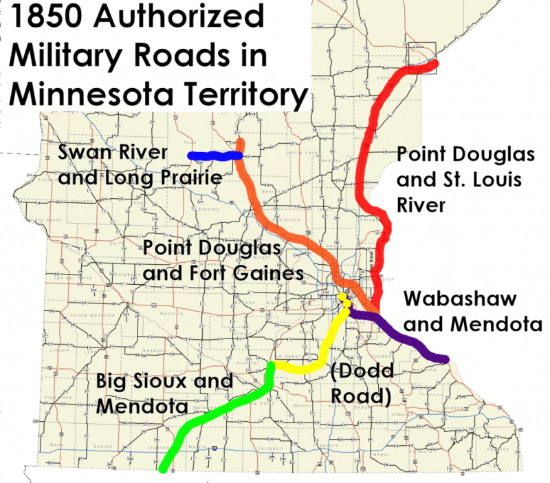 1850 Authorized Military Roads in Minnesota Territory