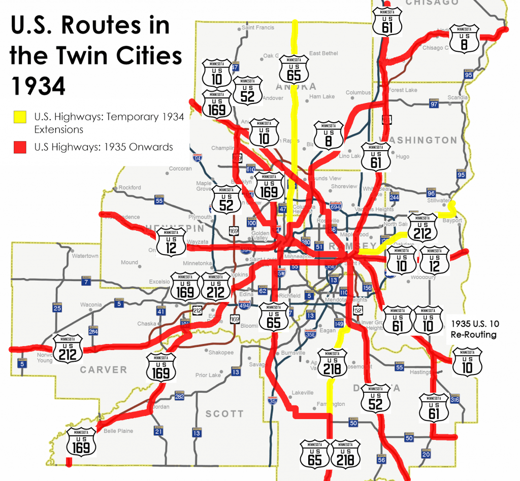 1934-1935 U.S. HIghways in the Twin Cities