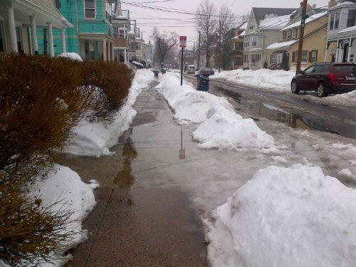 Flooded sidewalk