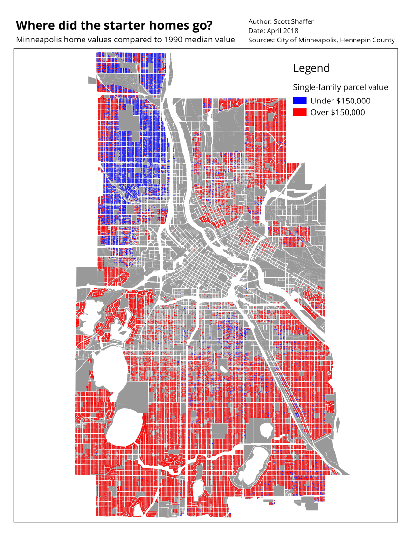 Map showing that almost all homes outside of north Minneapolis are more expensive than $150,000