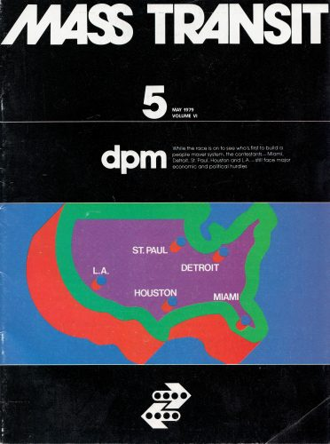 Cover of Mass Transit magazine from May 1979 showing a map of the United States with the following cities marked: St. Paul, Detroit, Miami, Houston, and Los Angeles
