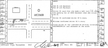 Police report of a car-bike collision on Marshall Ave with illustration and narrative description of investigation.
