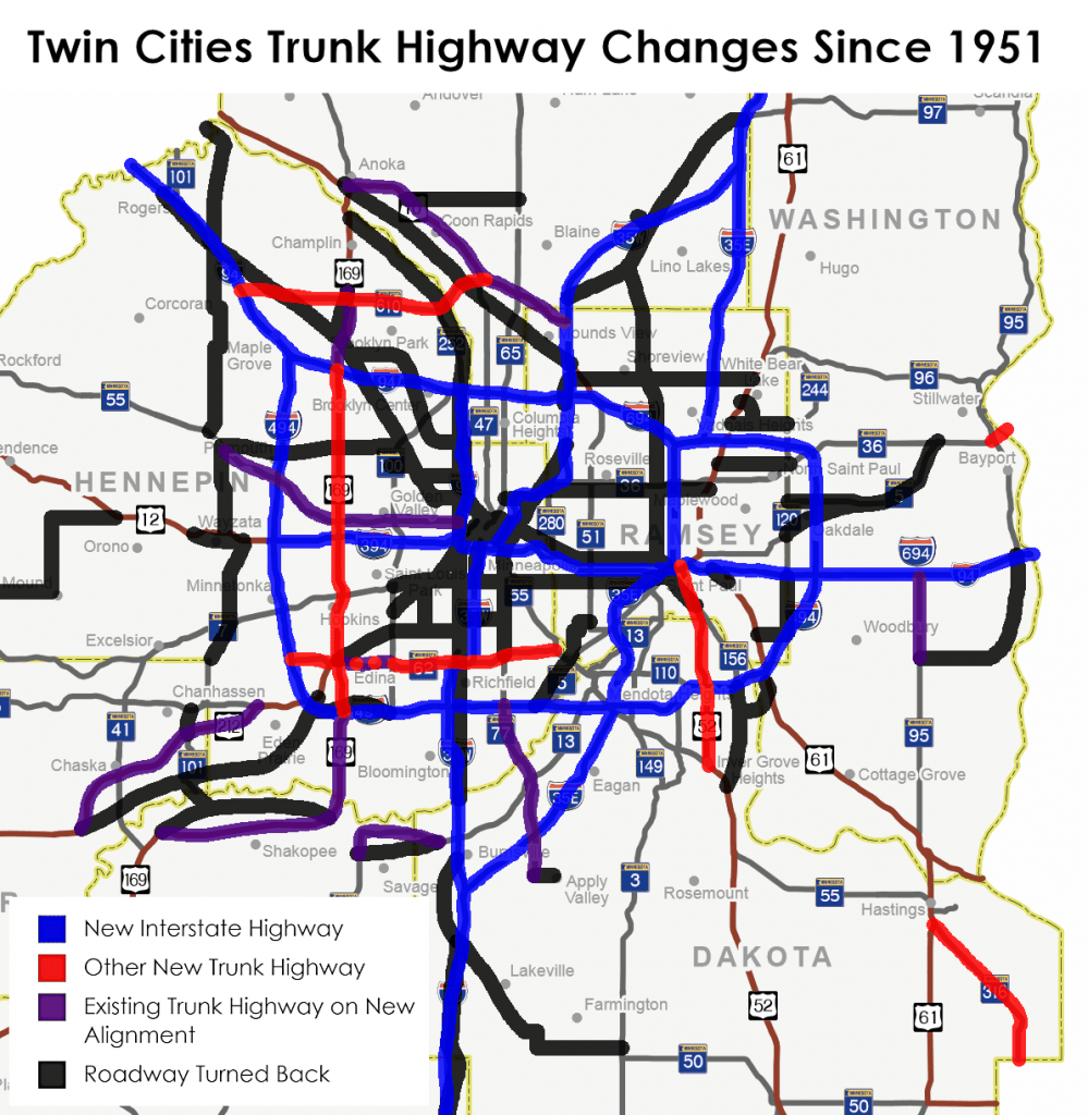 Map of Metro Trunk Highway Changes