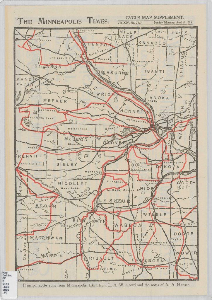 1896 Cycle Runs Map