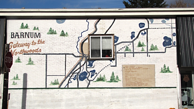 Map on a building in Barnum