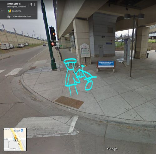 a stick figure of me and my bike superimposed on the intersection described