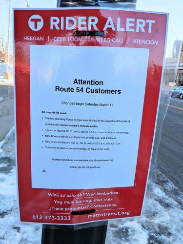 Metro Transit Rider Alert Sign