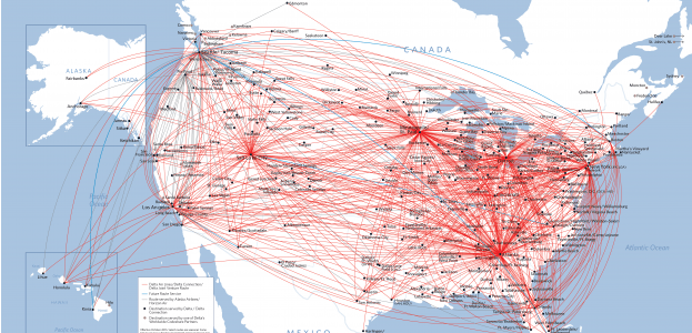 Delta Airlines US route map