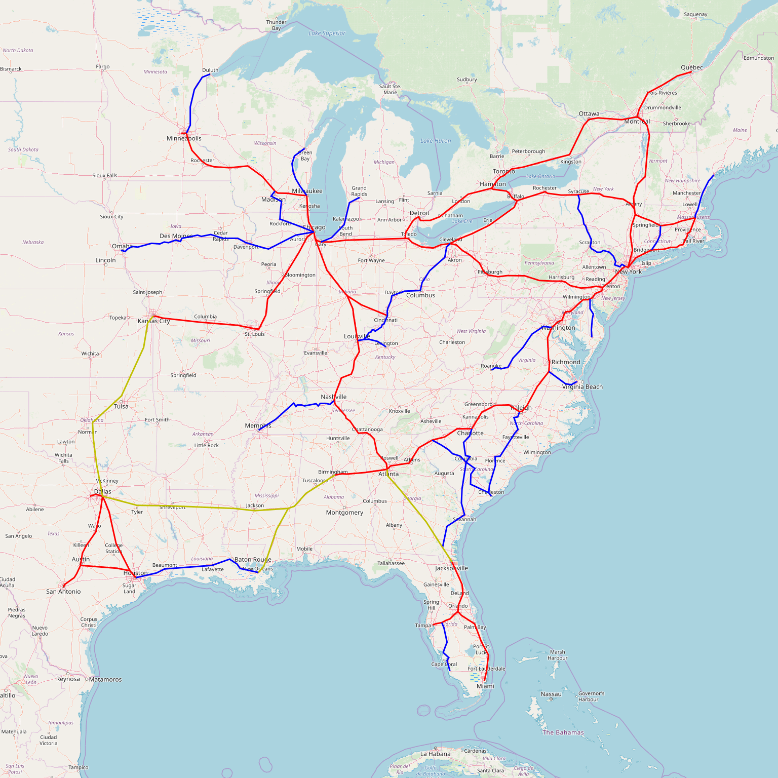 Map Monday: Fantasy Eastern US Rail Network | streets.mn