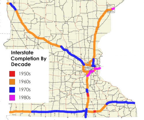 Map of Interstate Construction by Year, Greater Minnesota