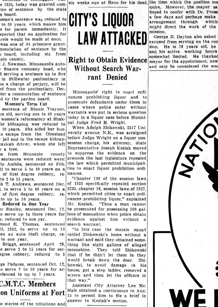 """""""City's Liquor Law Attacked"""" The Minneapolis Star, Tuesday, August 1, 1933."""
