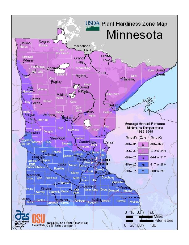 Plant Hardiness Zones, Minnesota
