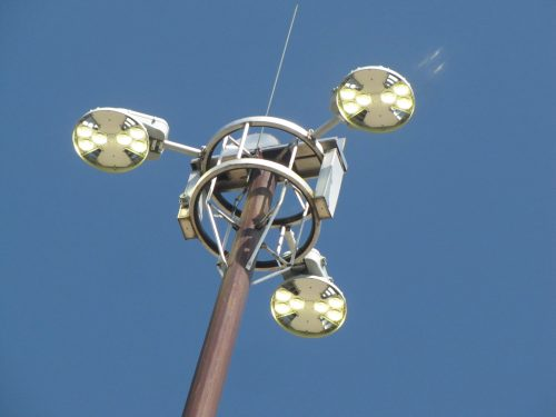 LED High Mast lights being installed.