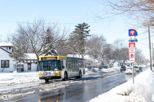 A Route 19 bus is pictured operating on Osseo Road just northwest of Victory Memorial Highway. Service on Route 19 was recently reduced to operate every 30 minutes at all times because the C Line opened. The C Line does not stop at Victory Memorial Highway or anywhere near it because of concerns expressed by neighbors and the Minneapolis Park & Recreation Board.