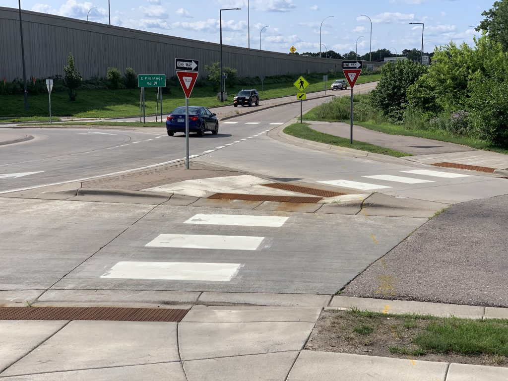 Crosswalks at roundabout near interchange of I-494 and US 169.