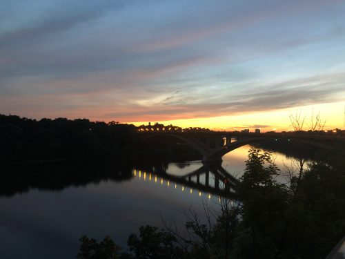Photo of a sunset over the Mississippi River