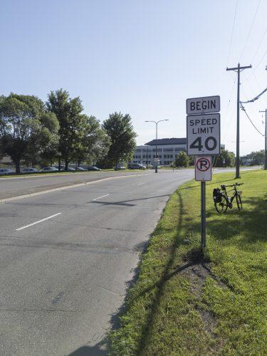 40mph road without shoulder or sidewalk