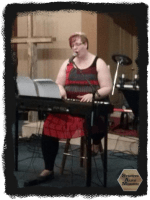 Meagan on keyboard at Streets Alive