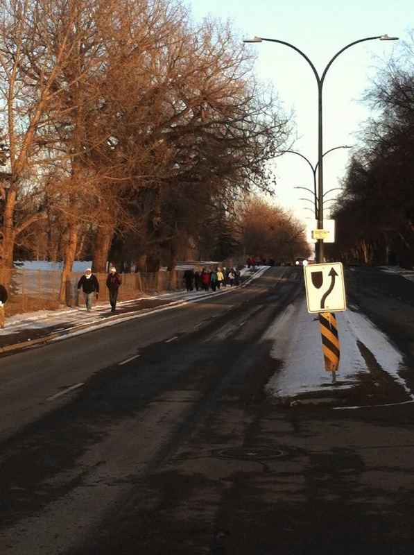 Walkers making their way up South Parkside Drive.