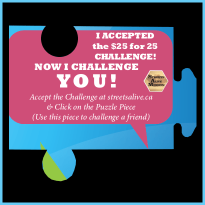 I accepted the $25 for 25 challenge - pink blue border - Streets Alive Mission